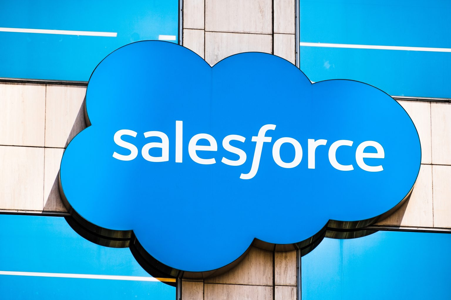 Salesforce logo displayed on the facade of Salesforce tower building in San Francisco