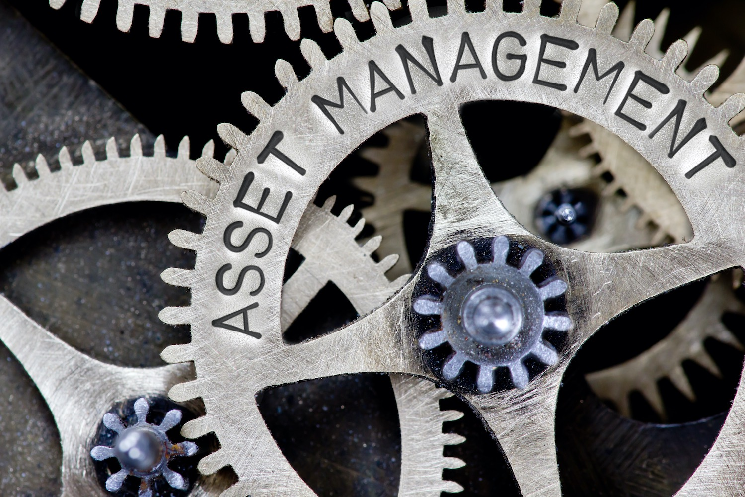 """Asset Management"" written on one of the machine cog wheels"