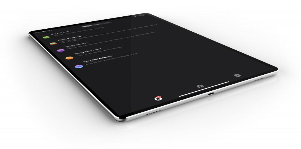 An iPad or a tablet device showing notifications in Nemely's CRM Alerts app