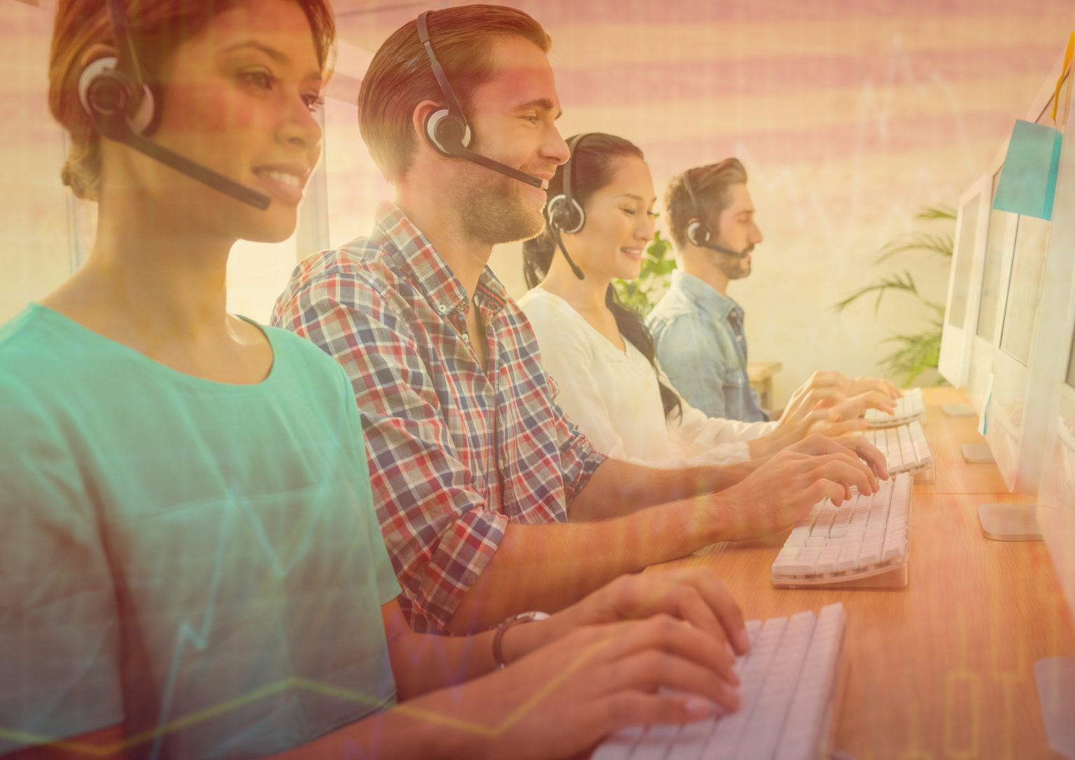 Customer service agents and providers assisting and solving customers' concerns and problems