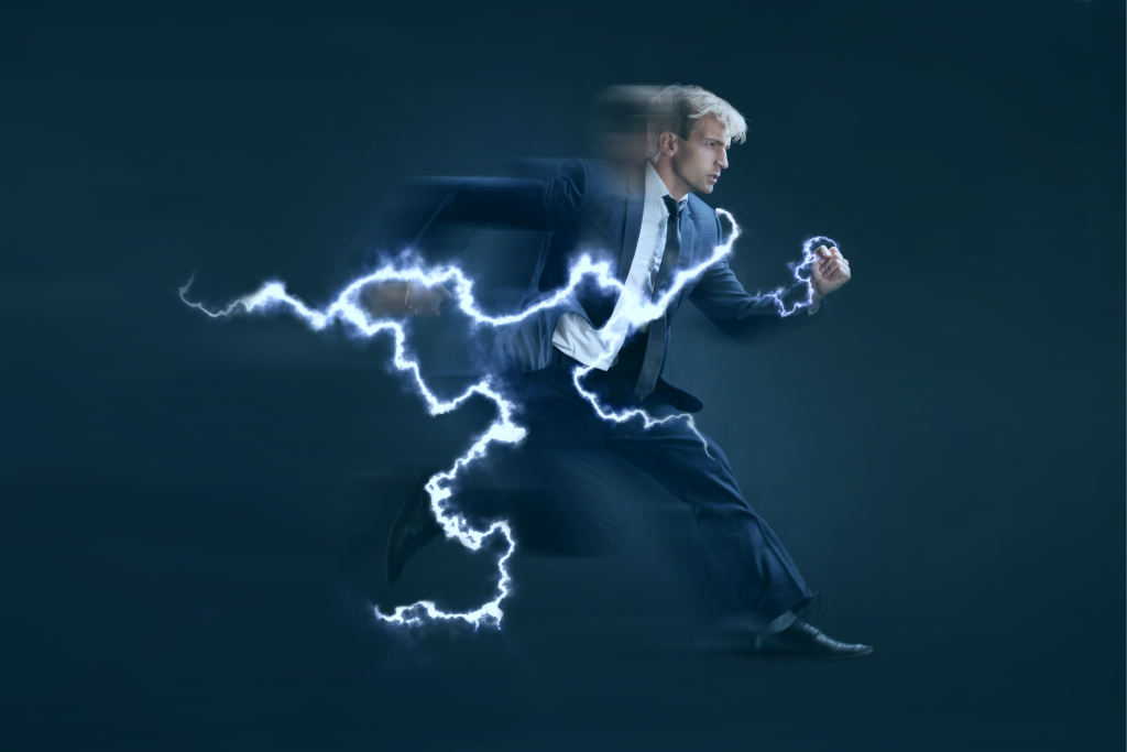 A productive businessman running as fast as a lightning